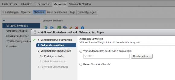 Neuer VMkernel-Adapter: Vorhandenen vSwitch verwenden oder neuen anlegen
