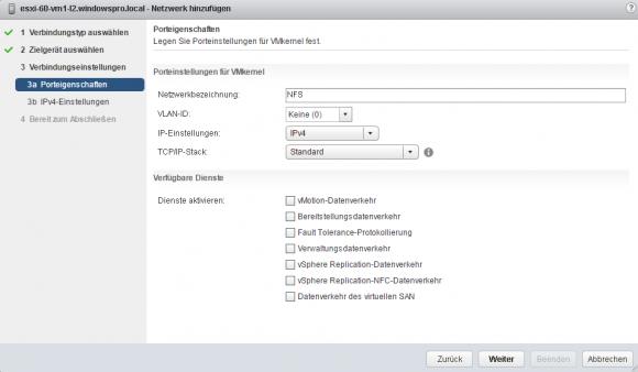 Neuer VMkernel-Adapter: Porteigenschaften konfigurieren