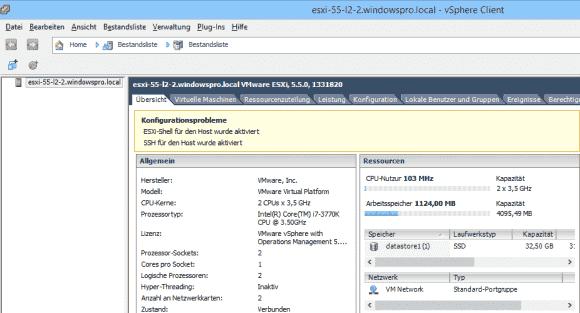 Die Aktivierung von SSH und der Shell gelten per Vorgabe als Konfigurationsproblem.