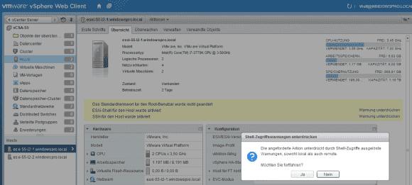 Am einfachsten lässt sich die Warnung im vSphere Web Client abschalten.