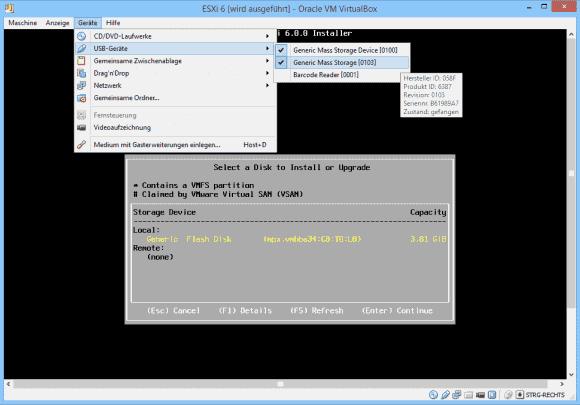 Das Setup von ESXi bietet auch USB-Laufwerke als Ziel der Installation an.