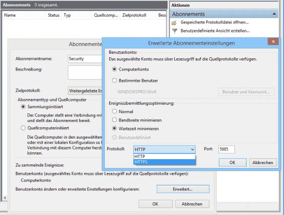 In den erweiterten Abonnementeinstellungen kann man ein alternatives Konto und die Verbindung über HTTPS konfigurieren.