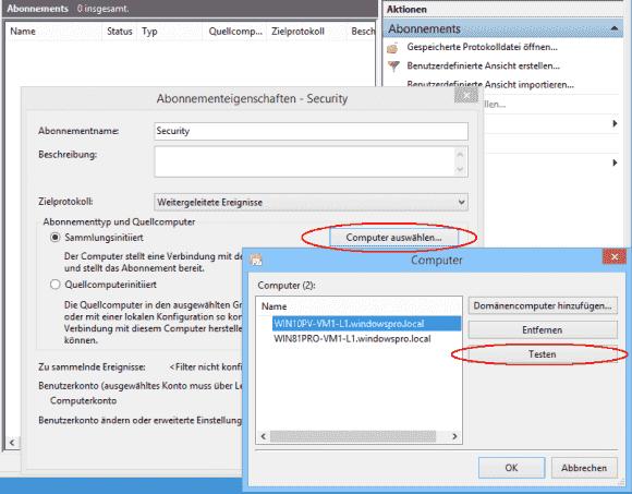 Nach der Auswahl der Quellsysteme kann man gleich testen, ob sich eine Verbindung über WinRM aufbauen lässt.