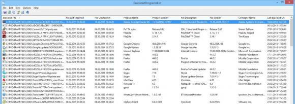 ExecutedProgramsList zeigt die auf einem PC ausgeführten Programme an und sortiert sie nach Ausführungsdatum.