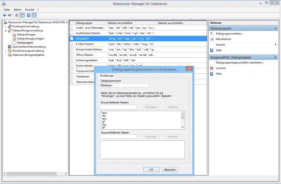 Die Dateigruppen bestehen aus Listen von Extensionen für eine bestimmte Art von Daten.