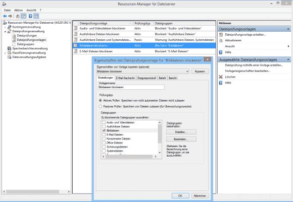 Der FSRM bringt mehrere Vorlagen mit, aus denen sich Dateiprüfungen erstellen lassen.