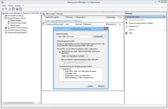 Das Blockieren von Dateitypen erfolgt schließlich über das Anlegen von Dateiprüfungen.