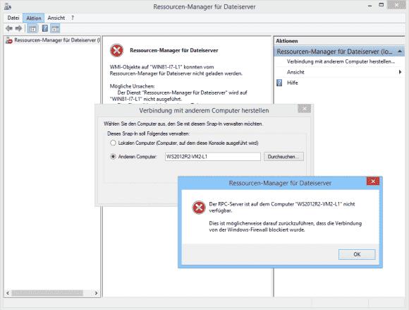 Das Remote-Management mittels FSRM funktioniert nur, wenn die Firewall am File-Server dafür konfiguriert wurde.