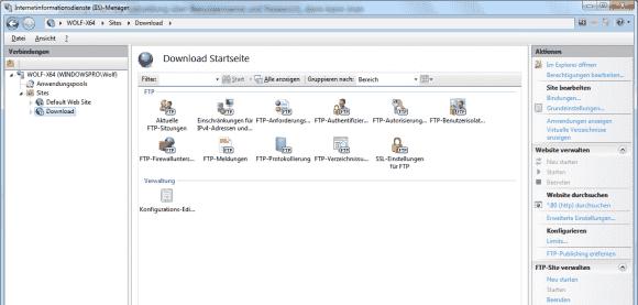 Die Feinabstimmung des FTP-Server erfolgt nach dem Durchlauf des Wizards mit den Applets des IIS-Managers.