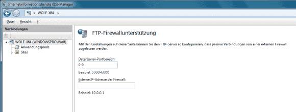 Im IIS-Manager kann man für passives FTP den Bereich eingrenzen, aus dem der Server einen Port auswählt.