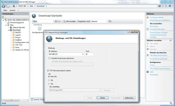 Der Wizard für das FTP-Publishing bietet im ersten Dialog die Optionen für die IP-Bindung und für SSL.