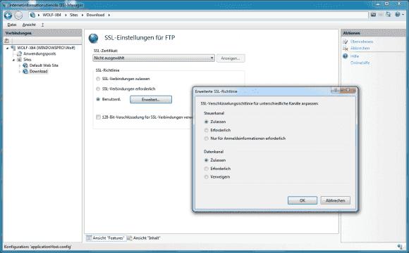 FTP über SSL kann man als verpflichtend festlegen oder daneben auch unsichere Verbindungen zulassen.