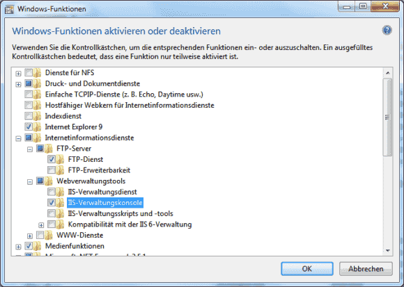Der FTP-Server von Windows 7/8 ist Teil der Internet Information Services.