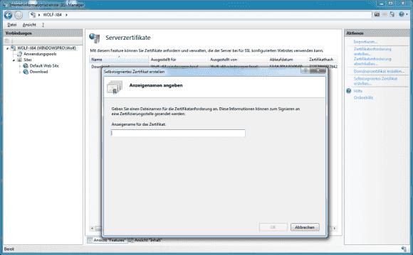 Im einfachsten Fall stellt man das Zertifikat für FTP über SSL selbst aus.