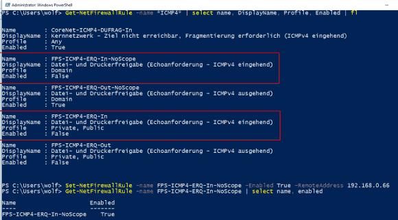 Konfiguration der Firewall-Regeln für eingehende Pings mit PowerShell.