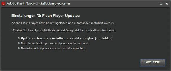 Bei der Installation des Flash Player legt man fest, ob die Software ohne Rückfrage im Hintergrund aktualisiert werden soll.
