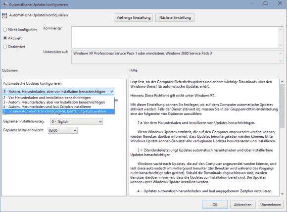 Diese Einstellung erlaubt die Auswahl von Update-Methoden in der Systemsteuerung, das Deaktivieren fehlt aber.