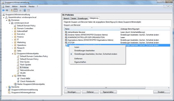 Beispiel GPO-Management: Aufgaben lassen sich hier über die GPMC delegieren, für andere Features sind andere Tools zuständig.