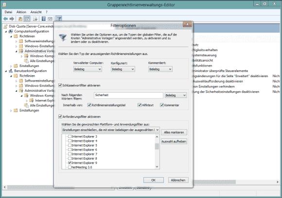 Der GPO-Editor bietet für Administrative Vorlagen eine Kombination aus Suche und Filter.