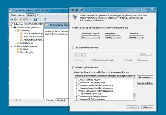 Nach dem Update der administrativen Vorlagen zeigt der GPO-Editor unter Windows 7 auch die Einstellungen für Server 2012.