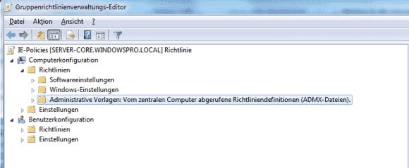 Der GPO-Editor zeigt an, ob er die Vorlagen vom lokalen PC oder vom Central Store geladen hat.