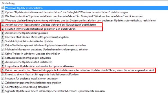 Einstellungen in den Gruppenrichtlinien, die den automatischen Neustart unter Windows 10 beeinflussen.