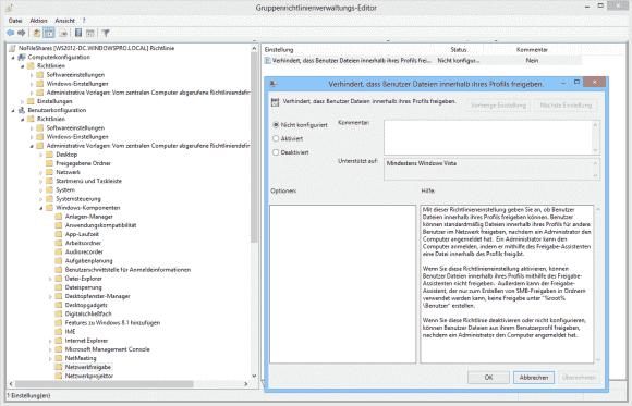 GPO-Einstellung, um Benutzer am Freigeben von Dateien und Ordnern zu hindern.