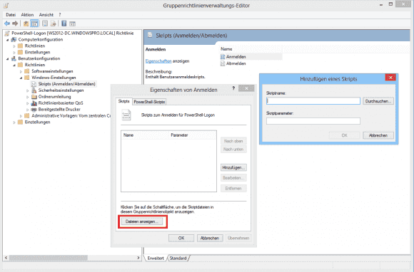 Der Dialog 'Dateien anzeigen' öffnet den Explorer in dem Verzeichnis. in das man das Script kopieren soll, ehe man es hinzufügt.