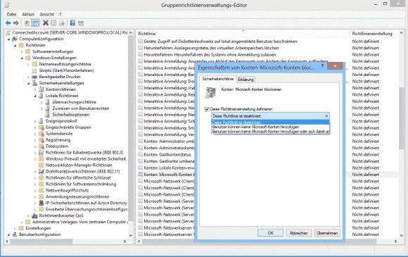 Die Nutzung von Microsoft-Konten lässt sich über ein GPO komplett unterbinden.