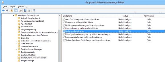 Für die Sync-Konfiguration mittels GPO stehen die meisten Einstellungen aus der App zur Verfügung.