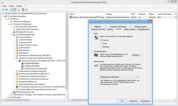 Wählt man zusätzlich das private Profil ab, dann ist die Verwaltung über WinRM auf PCs aus der Domäne beschränkt.