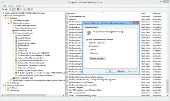 Der WinRM-Service ist bei Windows 7/8 standardmäßig inaktiv und kann über GPOs aktiviert werden.