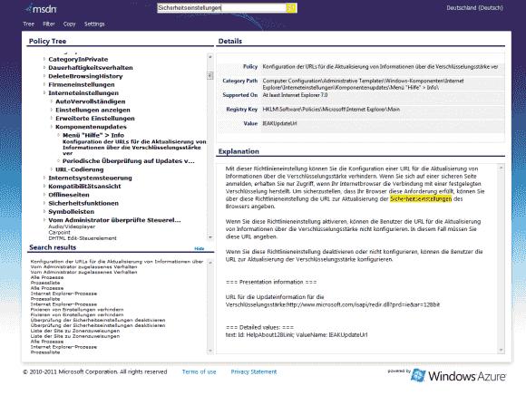 Das Online-Tool auf clouapp.net enthält auch die deutsche Übersetzung der GPOs.