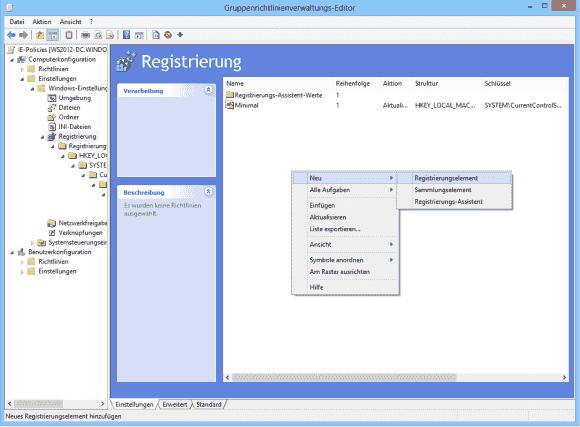 Will man nur wenige Registry-Schlüssel konfigurieren, dann kann man auf Sammlungen und den Assistenten verzichten.