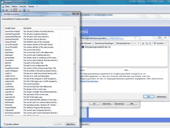 Drückt man im Dialog zur Eingabe von Variablen die F3-Taste, dann öffnet sich eine lange Liste vorgegebener Einträge.