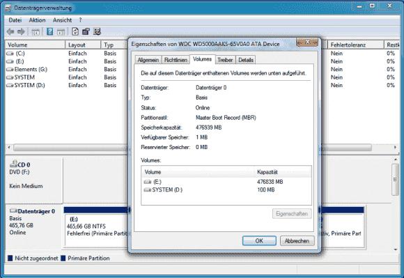 Das Partitionierungsschema von lokalen Laufwerken kann man über die Datenträgerverwaltung ermitteln.