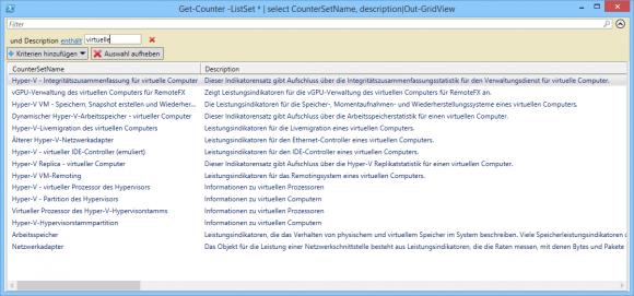Die Liste aller Counter-Sets lässt sich in Out-GridView durchsuchen.