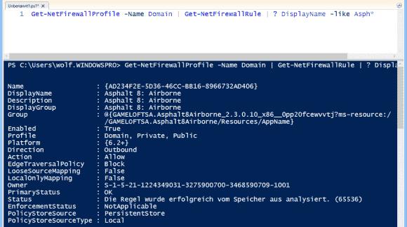 Get-NetFirewallProfile filtert Firewall-Regeln nach Profilen.