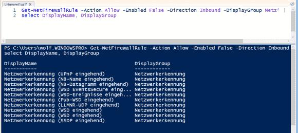 Get-NetFirewallRule unterstützt mehrere Parameter, mit denen sich die Regeln eingrenzen lassen.