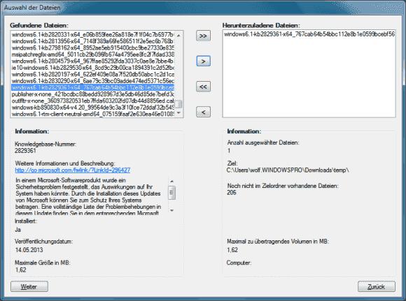 Im Expressmodus sucht Get WSUS Content .NET sofort ohne Zwischenschritt nach fehlenden Updates.