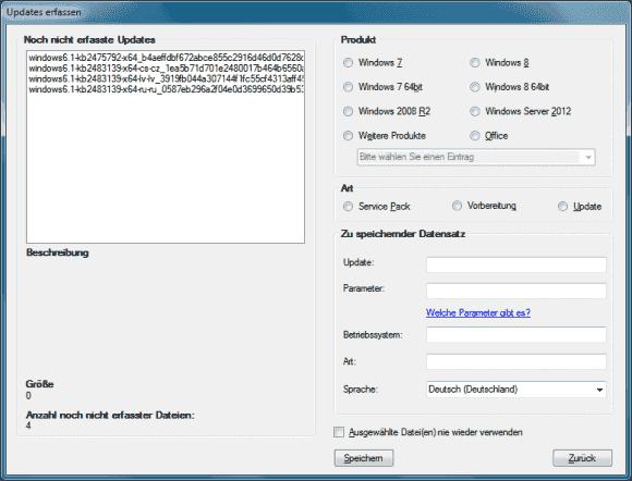 Die ermittelten Updates lassen sich nach Windows-Version filtern und dann lokal speichern.