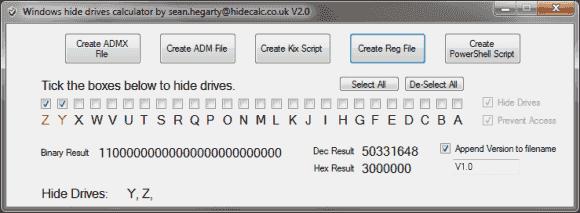 HideCalc erlaubt die Auswahl der Laufwerke, die ausgeblendet werden sollen, und berechnet den Wert für die Registry-Schlüssel.