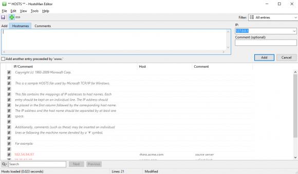 HostsMan bietet mehrere Komfortfunktionen beim Editieren der hosts-Datei.