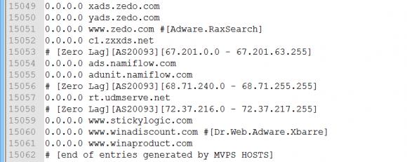 Blacklists für die hosts-Datei enthalten meist mehrere tausend Einträge.