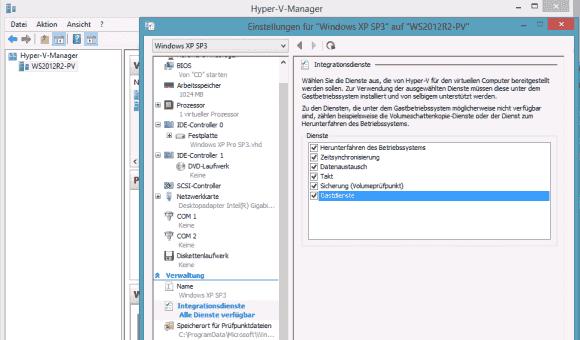 Die neue Gastdienstschnittstelle lässt sich im Hyper-V Manager aktivieren.