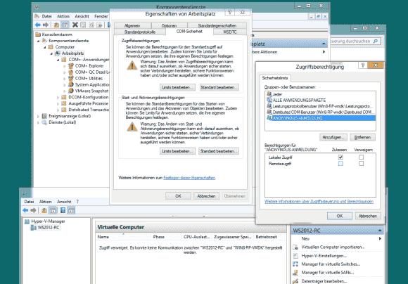 Die Remote-Verwaltung von Hyper-V erfordert, dass man für Anonymous die DCOM-Remotezugriffsrechte einräumt.