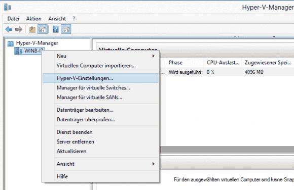 Die Standardverzeichnisse für VMs lassen sich in den Einstellungen eines Hyper-V-Servers ändern