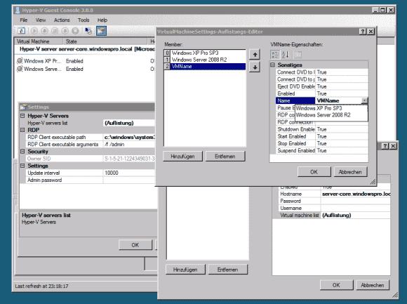 Die größte Hürde bei der Benutzung der Hyper-V Guest Console besteht darin, zu Beginn die gewünschten VMs auszuwählen.