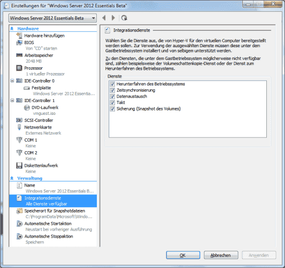 In den Einstellungen der VM kann man überprüfen, ob die Integrationsdienste installiert wurden.