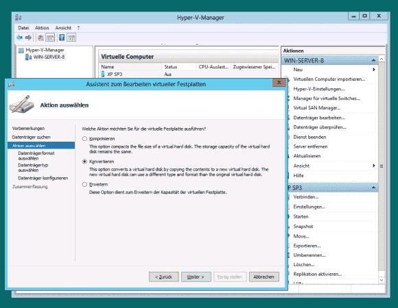 Im Hyper-V-Manager lassen sich die Formate VHD und VHDX über die Funktion 'Datenträger bearbeiten' konvertieren